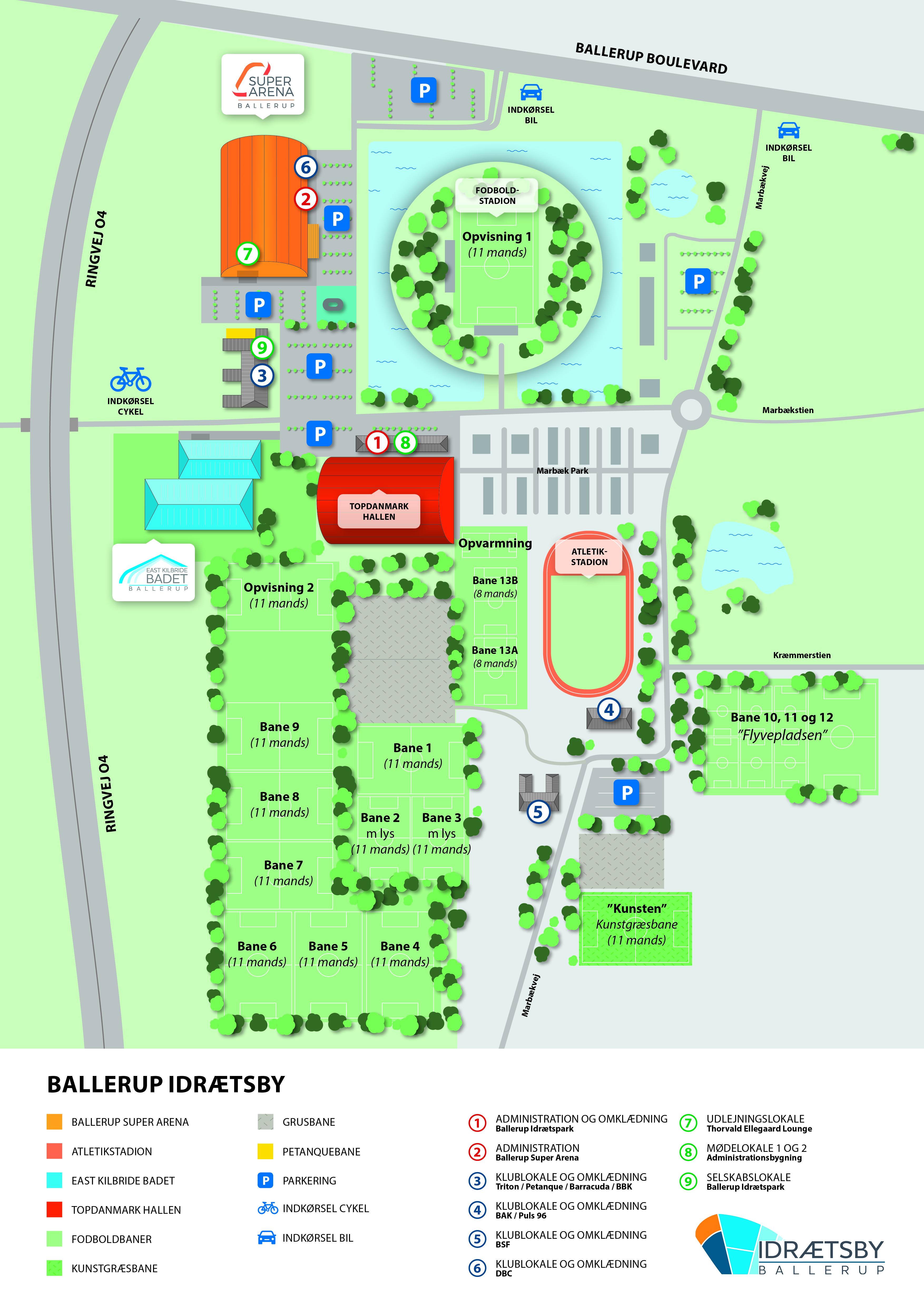 Kort Forboldbaneoversigt I Ballerup Idraetsby